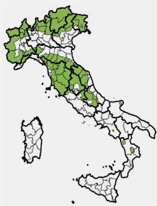 Distribuzione capriolo in Italia (da Carnevali L. et al.,2009 - Banca Dati Unguati)